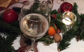 Weihnachten Weinglas
